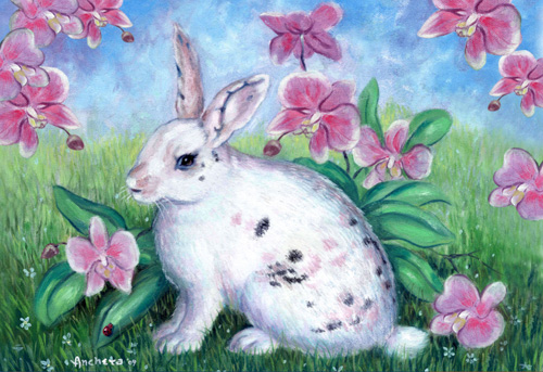 White rabbit painting - photo#16
