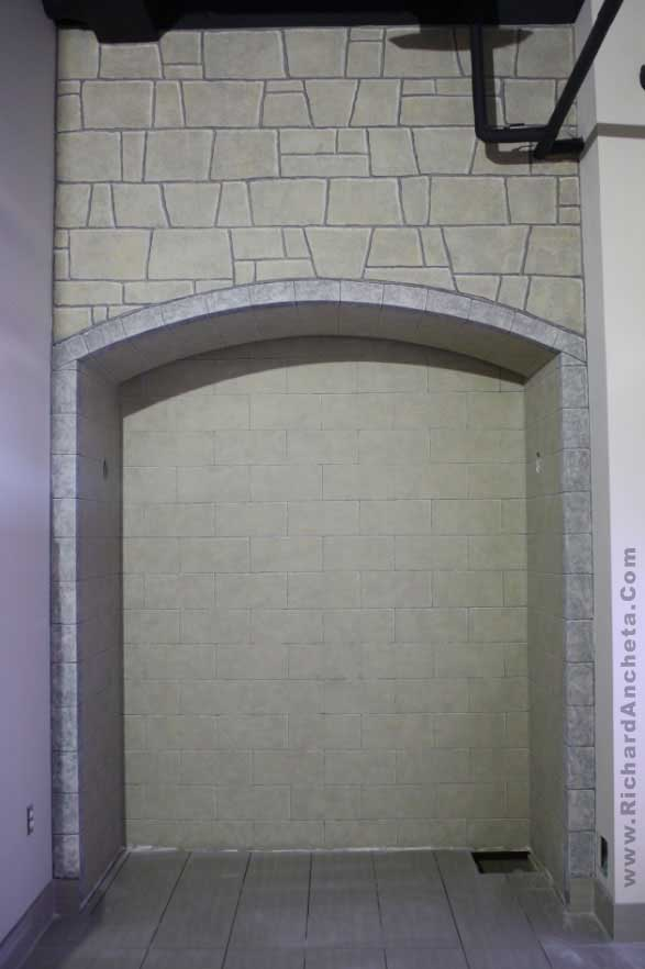 Arch medieval stone wall faux fini by richard ancheta for Brick meuble montreal