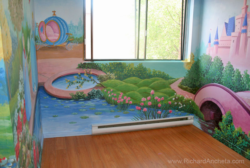 Disney castle wall mural home design for Disney wall stencils for painting kids rooms