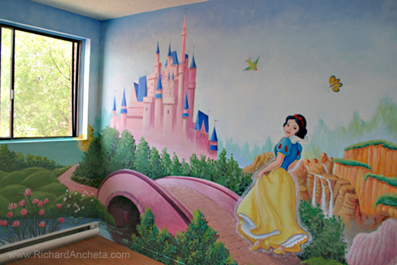 Children 39 s mural painting disney princesses montreal for Disney princess castle mural
