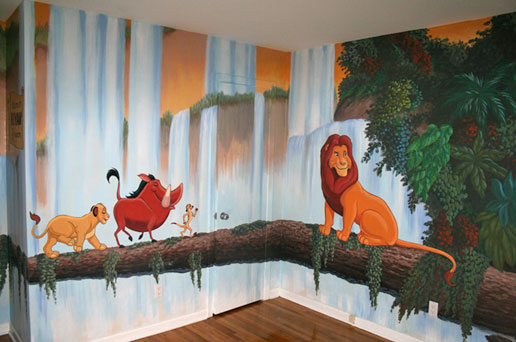 Children 39 s murals animal painting montreal for Cartoon mural painting