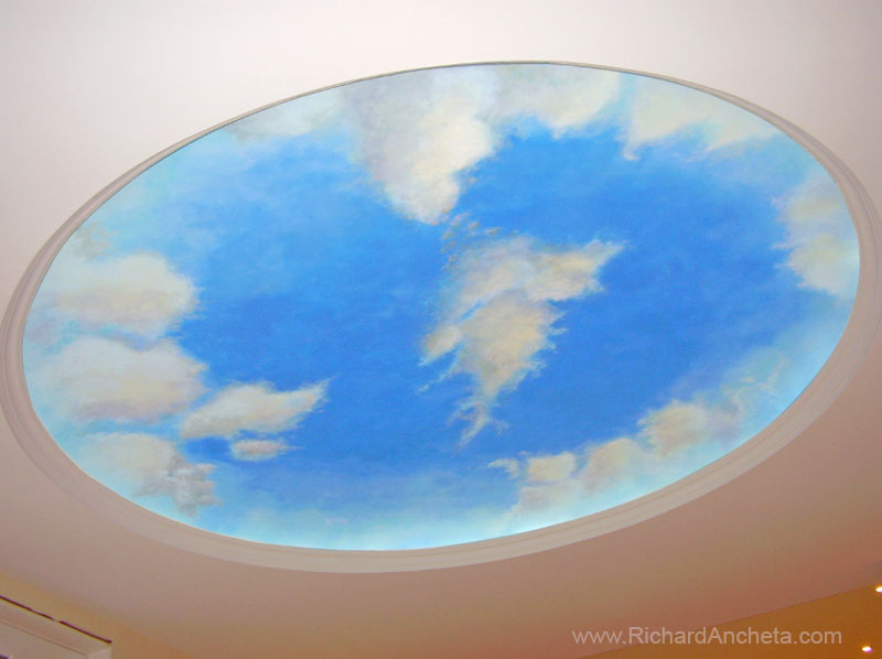 Sky ceilings and the o 39 jays on pinterest for Ceiling mural clouds