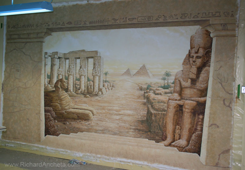 Egyptian mural painting trompe l 39 il by richard ancheta for Egypt mural painting