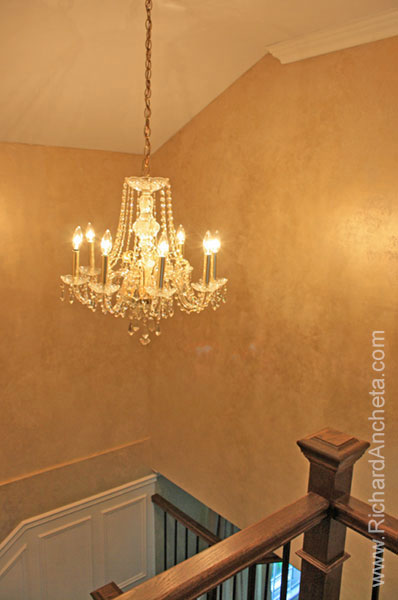 Metallic Walls Decorative Faux Finish Painting - Stair with Chandellier -  Montreal