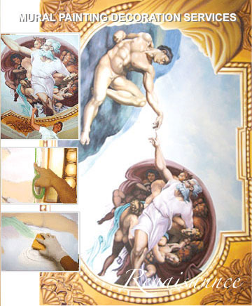 Renaissance mural painting montreal for Creation of adam mural