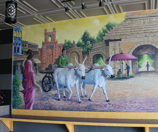Restaurant mural painting indian culture montreal for Mural restaurant