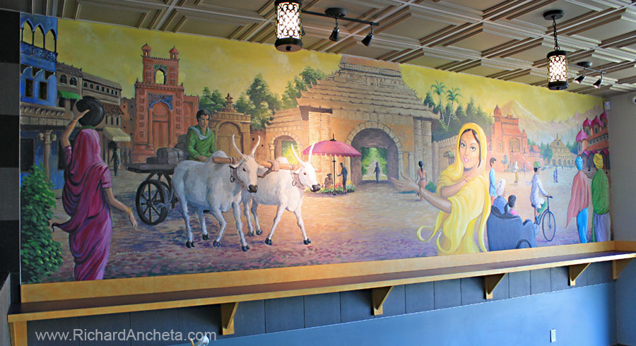 Restaurant mural painting indian culture montreal for Art mural montreal