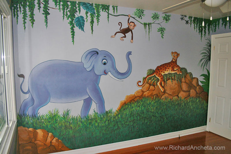 Kid S Jungle And Animal Mural Painting For Nursery Room