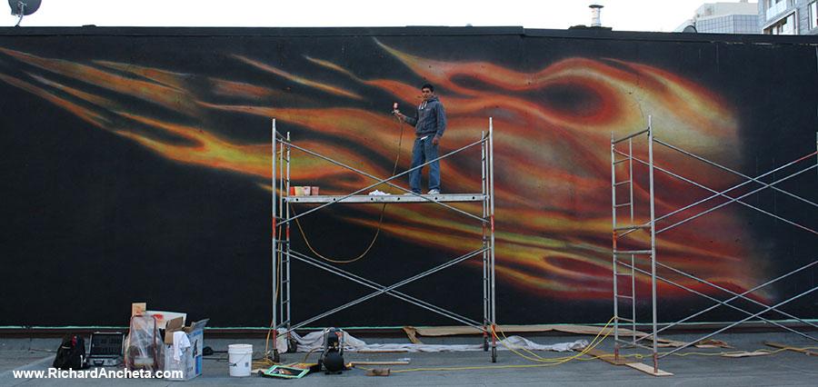 Michael jordan mural paintings montreal by richard ancheta for Airbrush mural painting