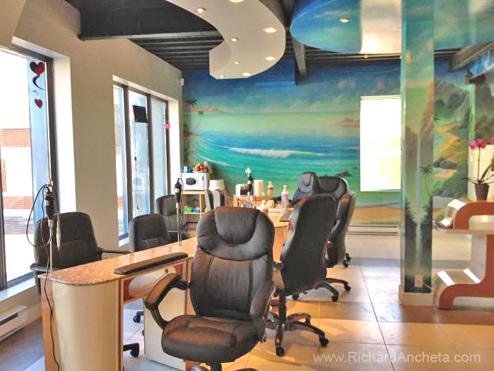 Spa waterfalls and seascape mural painting by richard - Salon ongles montreal ...