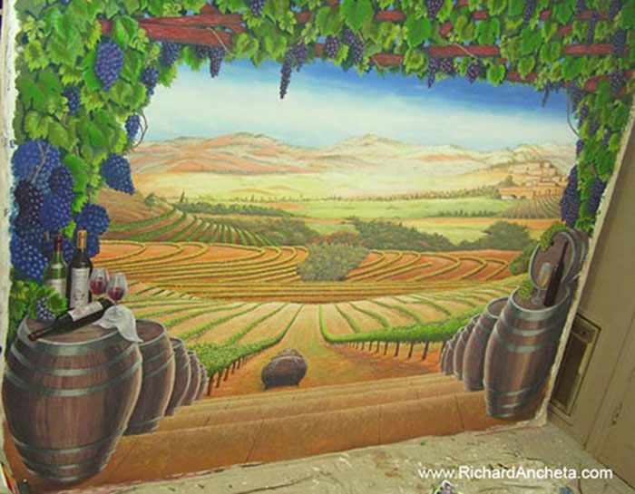 Wine cellar tuscan vineyard mural painting montreal by for Canvas mural painting