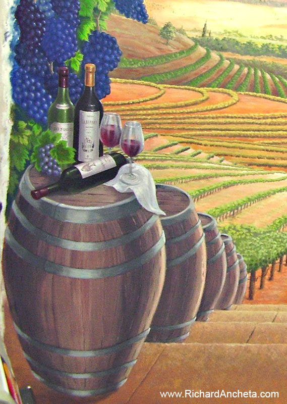 Wine Cellar Tuscan Vineyard Mural Painting Montreal By