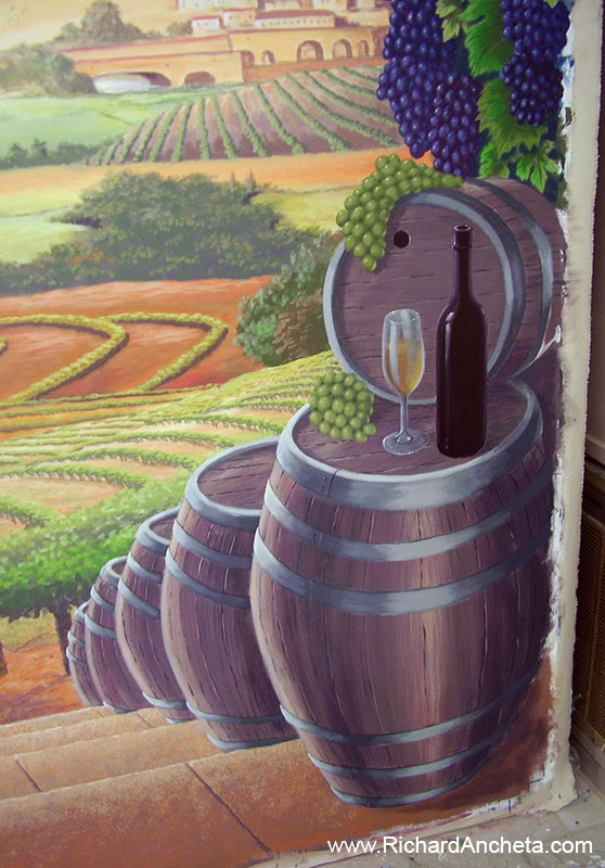 Wine cellar tuscan vineyard mural painting montreal by for 3d mural painting tutorial