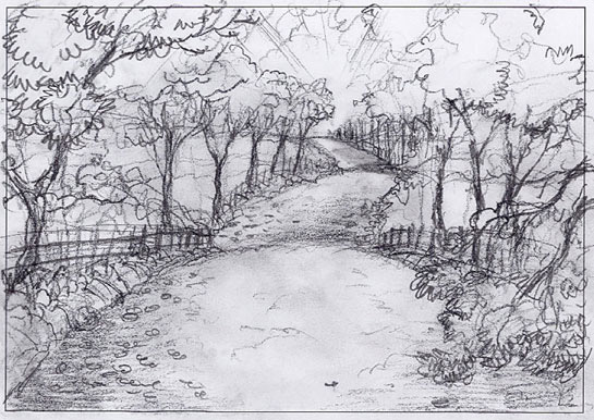 The-Road-to-Town,Landscape-Painting-sketch