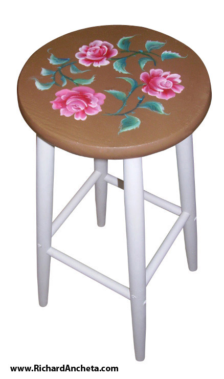 High chair bar stool - hand painted furniture by Richard Ancheta - Montreal