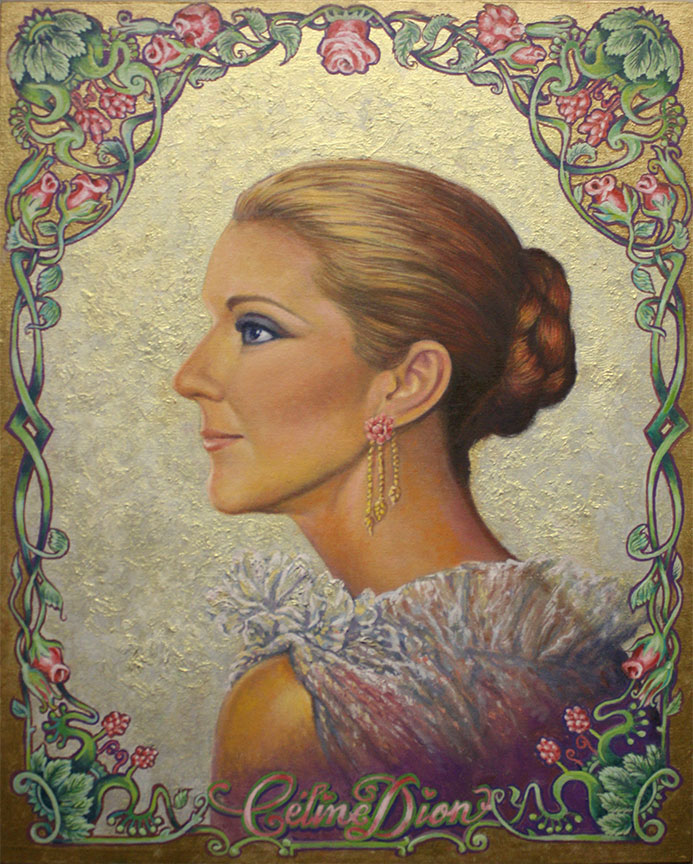 Art Nouveau Portrait embellish with gold, vignette with rose vines, typographic designs of Celine Dion, oil painting on canvas by Richard Ancheta