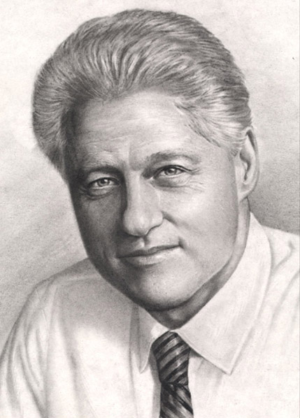 President Bill Clinton - Charcoal Portrait by Richard Ancheta