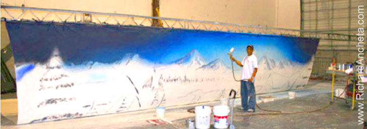 Theater stage scenic backdrops airbrush painting by for Describe the mural on the ceiling of the stage