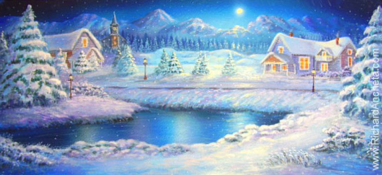 Theater stage backdrops - sketch of  winter landscape moonlight of snowy county of mount tremblant design by Richard Ancheta - Montreal.