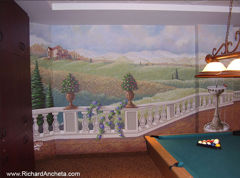 Pool And Billiard Mural Trompe L 39 Oeil Painting By