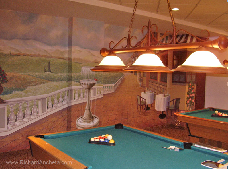 Pool billiard mural trompe loeil painting by Richard Ancheta - Montreal