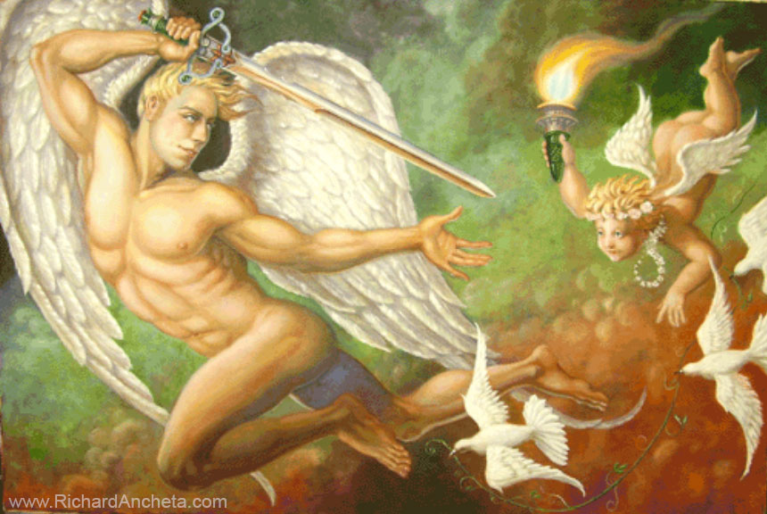 Neoclassical mural of angel and cupid oil painting by Richard Ancheta - Montreal