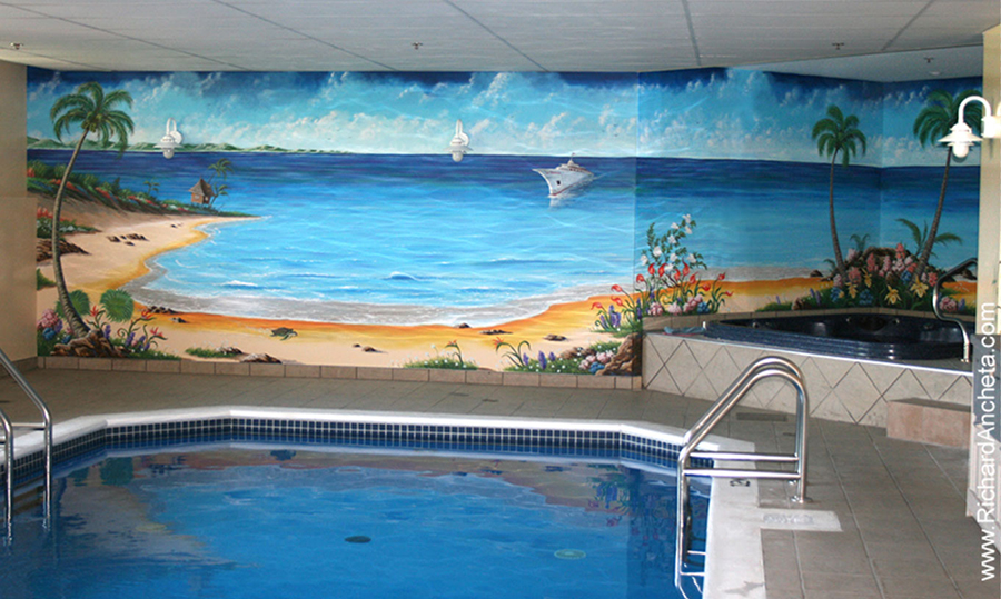 Swimming Pool Mural - Oil Painting by Richard Ancheta - Montreal