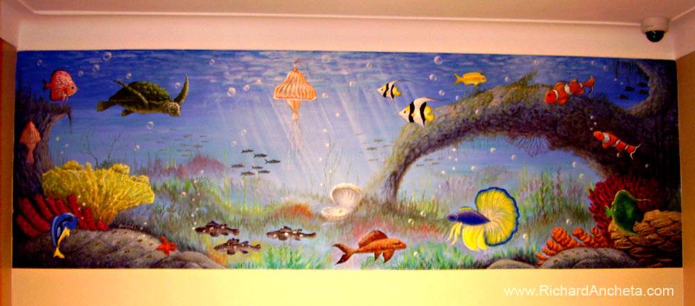 Aquarium Mural Painting by Richard Ancheta - Montreal
