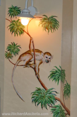Monkey - swimming pool mural column design, oil painting by Richard Ancheta
