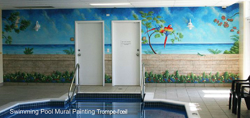 Swimming Pool Mural Painting - Trompe-l\'œil by Richard Ancheta