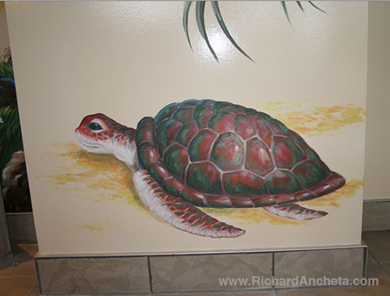 Turtle painting - swimming pool mural column design, oil painting by Richard Ancheta