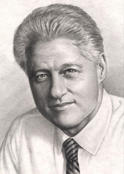 President Bill Clinton - Charcoal Portrait by Richard Ancheta - Montreal