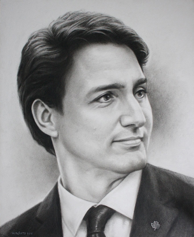 Justin Trudeau - Charcoal Portrait by Richard Ancheta - Montreal.