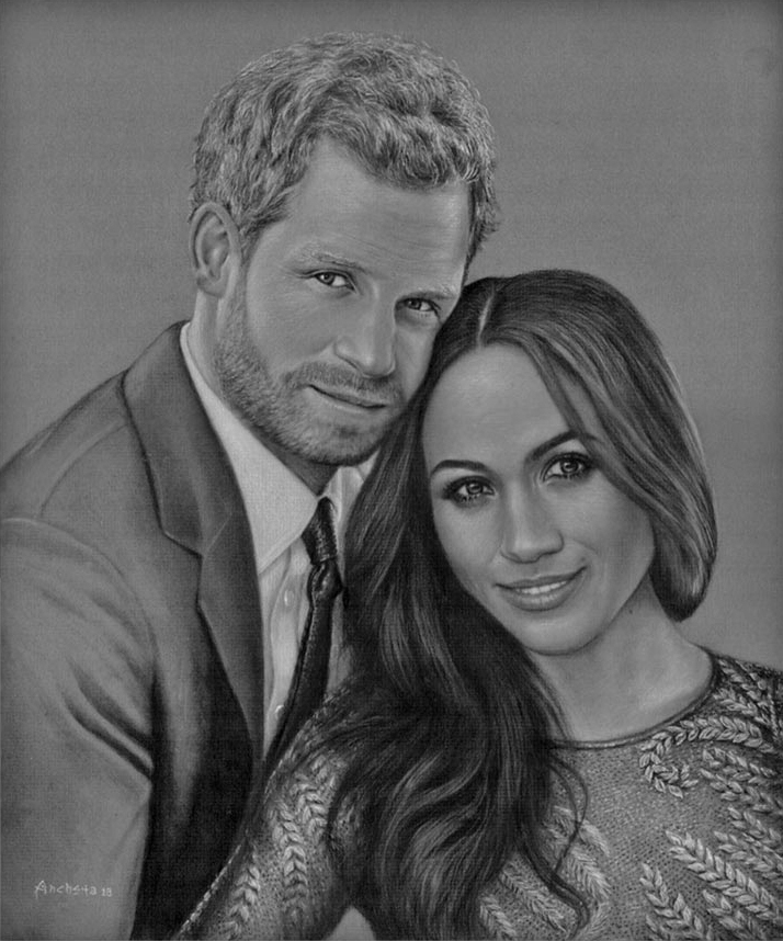 Prince Harry and Meghan Markle - couple charcoal portraits - fusain par Richard Ancheta - Montreal