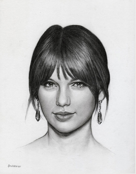 Taylor Swift - Charcoal Portrait by Richard Ancheta - Montreal