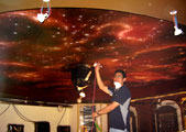 mural painting montreal - residential home cinema - cosmic ceiling - airbrush