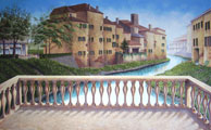 mural painting montreal - Tuscan Italian garden & architecture