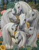 Hite arabian horse oil painting