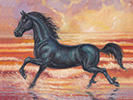 black friesian horse oil painting.