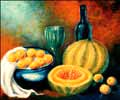 Cantaloupe oil painting.