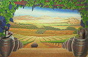 Wine Cellar - Tuscan Vineyard - Mural Painting by Richaqrd Ancheta - Montreal
